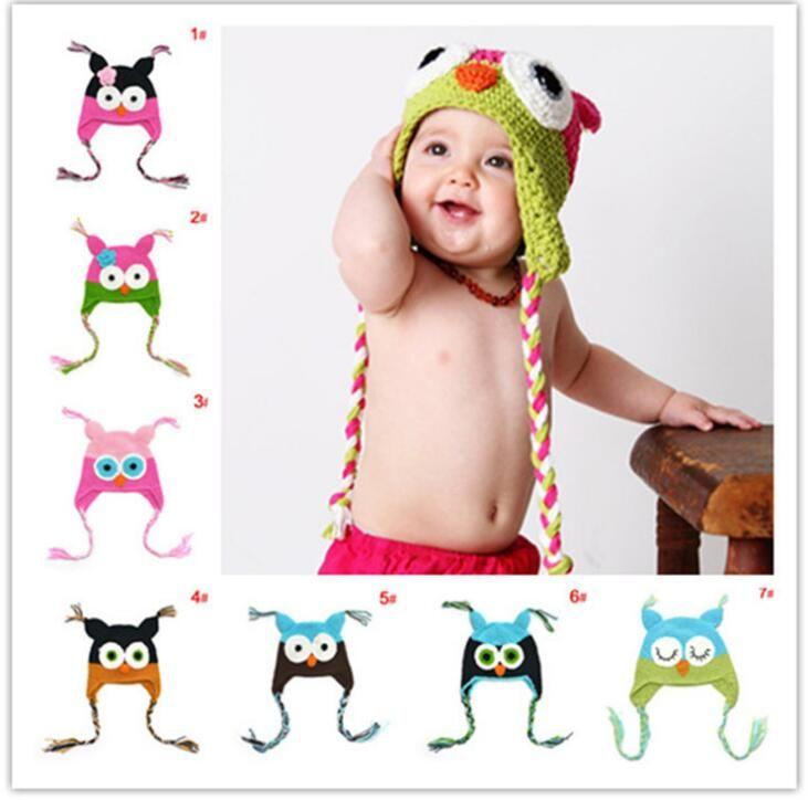 Winter warm Baby hat fashion infant caps Beanie Knit Children Owl Cartoon Handcraft Crochet Woolen hats Warm kids hats