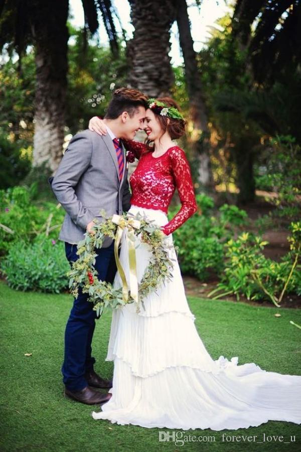 Fabulous Red and White Brautkleider Eine Linie geraffte Stufenrock Boho Brautkleider Bunte Garden Brides Wear Illusion Long Sleeves