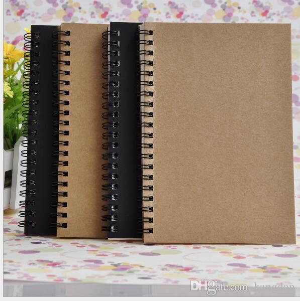 Couro de papel do vintage notebook escritório escola estudante kraft em branco Blocos de notas de papelaria caderno espiral Criativa tendências bobina notepad