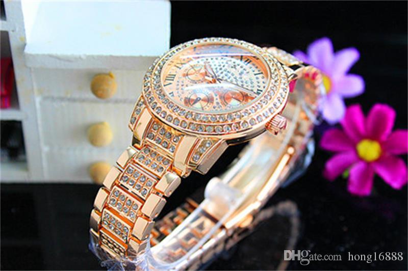 Orologi di moda Michael orologio al quarzo casuale acciaio pieno Stile del quadrante donna In tutto le stelle del cielo di cristallo Diamante Roma Word Stile del quadrante Orologi