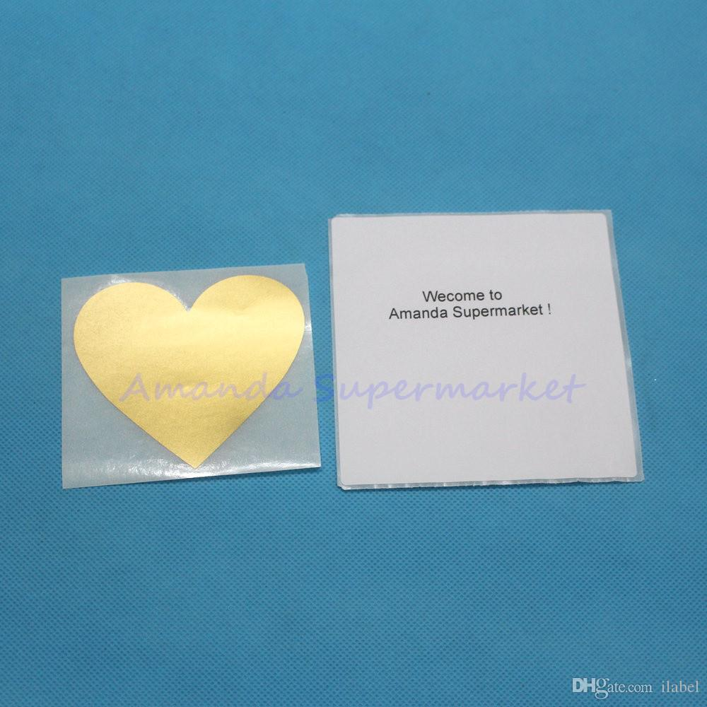 خدش قبالة ملصقات 70x80mm الحب شكل قلب ذهبي اللون ألعاب الزفاف