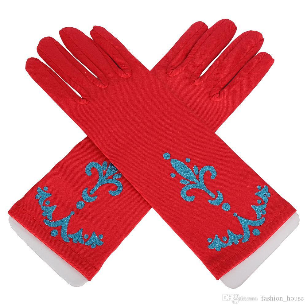 Kids Full Finger Gloves for Halloween Christmas Party Snow Queen Gloves Cosplay Costume children Anime Gloves Coronation A08
