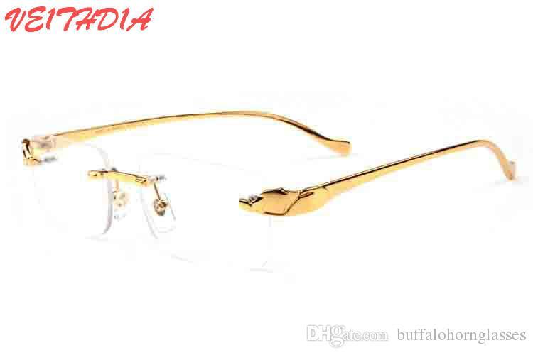 Luxury Sunglasses For Men Gold Metal Frame Men Rimless Glasses 2018 ...