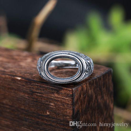 Real Sterling Silver 925 Thai Silver Semi Mount Men Pierścionek do owalnego Cabochon 10x14mm Amber Agate Opal Turquoise Fine Jewelry Ustawienie