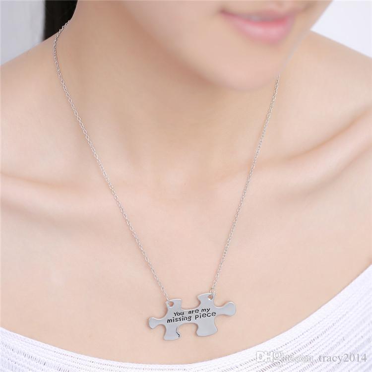 Carte d'état Colliers Carte de la lettre pendentif avec le collier américain Vous êtes ma pièce manquante colliers pour femmes Vente directe à l'usine