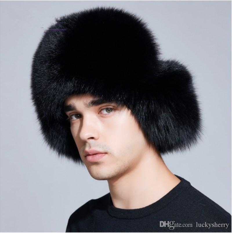 27ef53df65b 2019 LUCKYFUR Winter Hat Earflap Men Real Fox Fur Hats Russian Ushanka Fur  Protect Ear Warm Enough High Quality Bomber Hat FXM17503 From Luckysherry