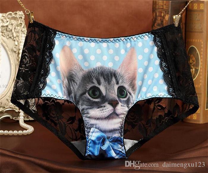 lace Ladies Underwear Cute 3D Cat Panties Sexy Mid Waist Underwear Comfort Briefs Animal Panties For Women Nylon Panties Gifts D722