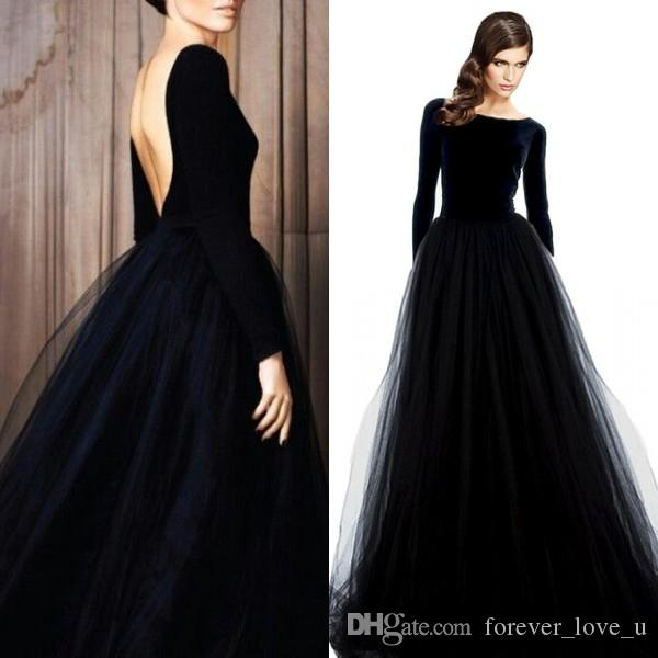 Stunning Long Sleeve Evening Gowns Velvet Dresses Black Prom Party ...