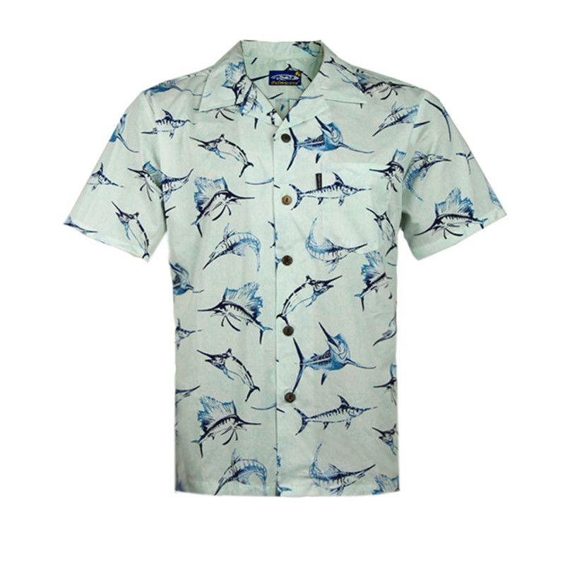 2018 wholesale men 39 s hawaiian beach shirts marlin fish for Fish hawaiian shirt