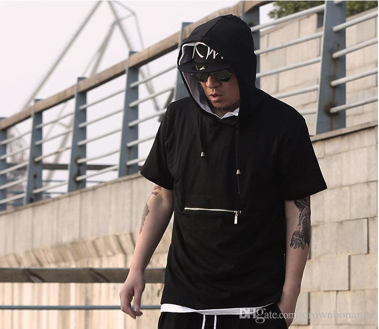 Erkekler t gömlek tyga serin boy Altın yan fermuar hip hop genişletilmiş kaput t-shirt tee üst hba jay-z rahat tişört uzatmak ücretsiz shippping