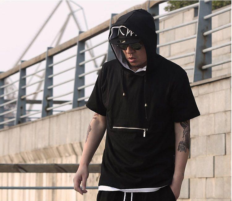 T-shirt da uomo tyga cool oversize con cerniera laterale dorata hip hop t-shirt con cappuccio esteso t-shirt top hba jay-z t-shirt casual allungata shippping libero