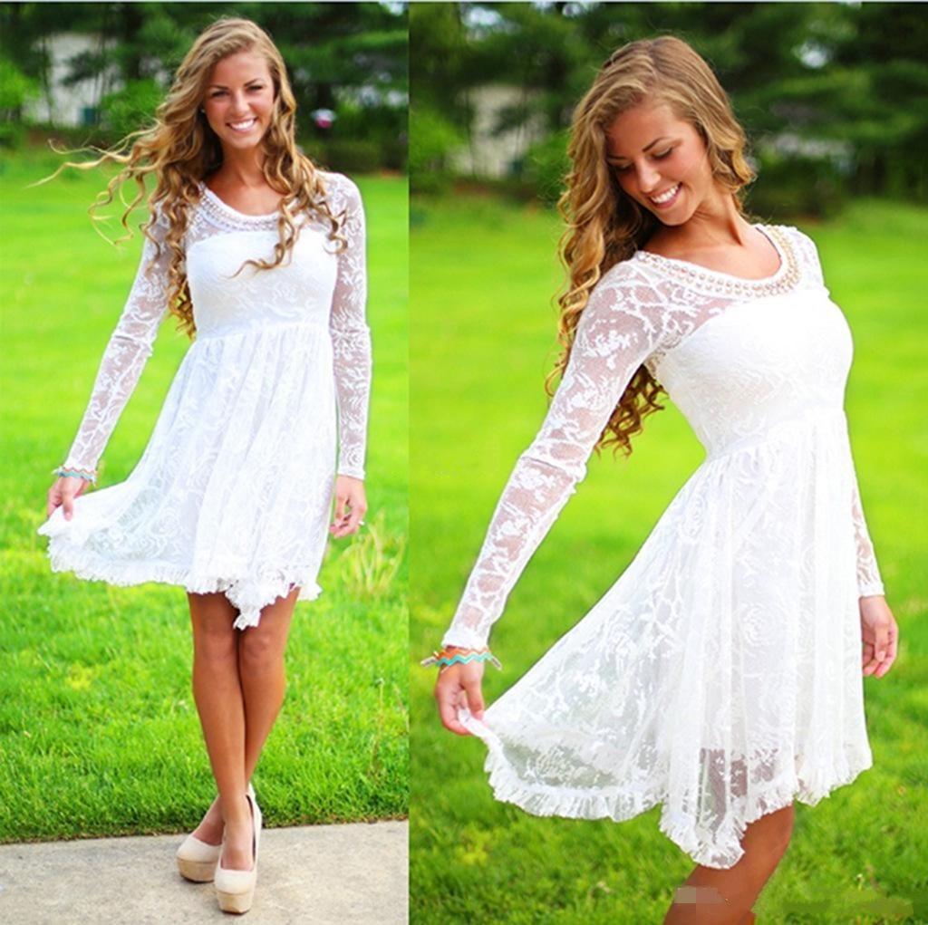 Uzun Kollu Ile beyaz Rahat Ülke Gelinlik Kristal Boyun Çizgisi Diz Boyu Tam Dantel Gelin Elbise Kısa Sahil Gelinlikler