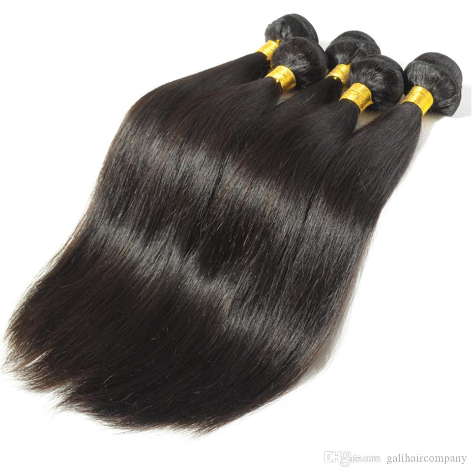 8A High Quality Peruvian Straight Hair Unprocessed Human Hair Extensions 8-30inch Natural Black Color Thick Full Soft Dyeable DHL