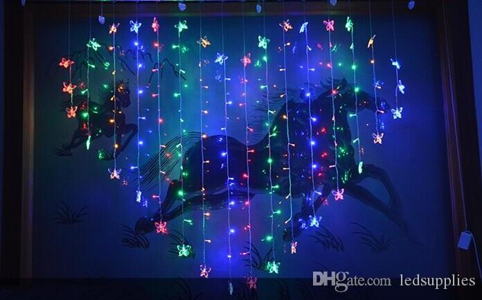 Outdoor Shiny Butterfly Heart-shaped Colorful LED Lights String With Controller Hanging Light For Wedding Christmas Party AC110V-250V