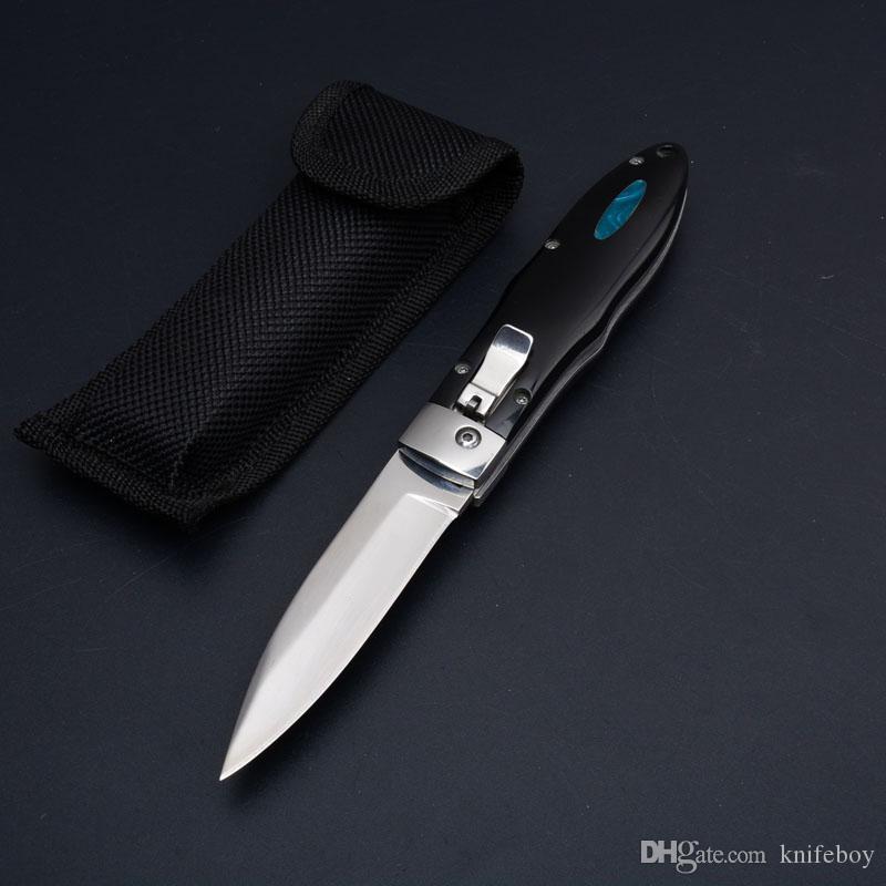 Özel Teklif Otomatik Taktik Bıçak 440C 58HRC Saten Bıçak Tek Kenar Damla Noktası EDC Cep Bıçaklar Naylon Çanta Xmas Hediye Ile
