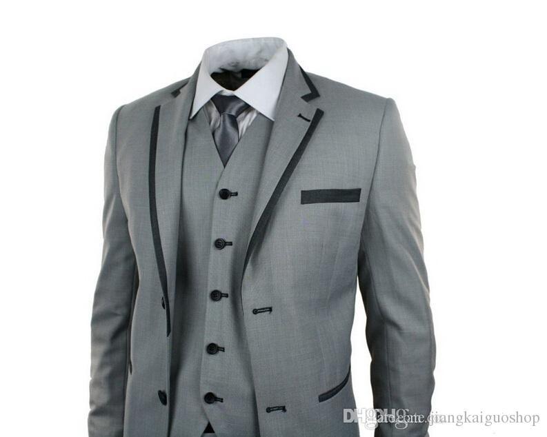 Nuovi uomini di stile vestiti di moda tre pezzi smoking uomo abiti da sposo abiti da sposa sposo due bottoni smoking giacca + pantaloni + gilet + cravatta