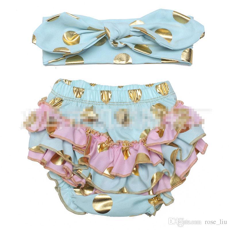 6 Design kids bronzing dot pp pants Hair band suit Free DHL fashion baby toddlers boy girl bowknot dot pants shorts Leggings B