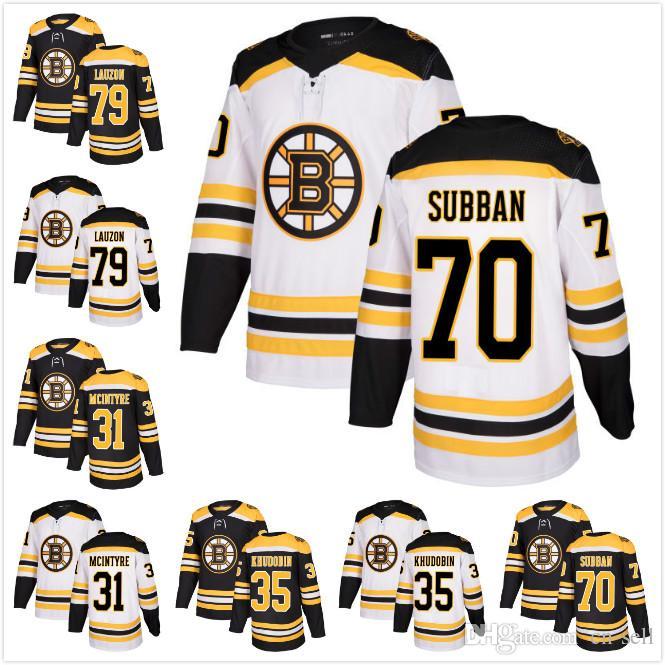 2018 2017 New AD Mens Boston Bruins 79 Jeremy Lauzon 35 Anton Khudobain 31  Zane McIntyre 70 Malcolm Subban Ice Hockey Jerseys White Black From Cn  Sell c520fa21a