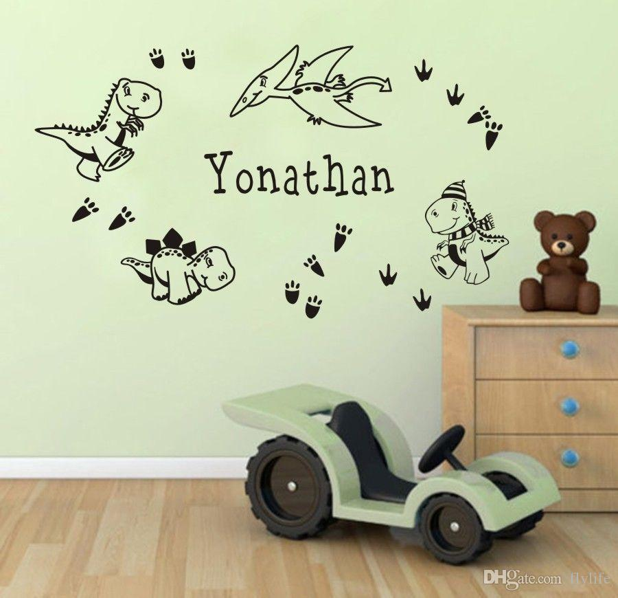 personalized boys name wall sticker custom made cartoon dinosaurs