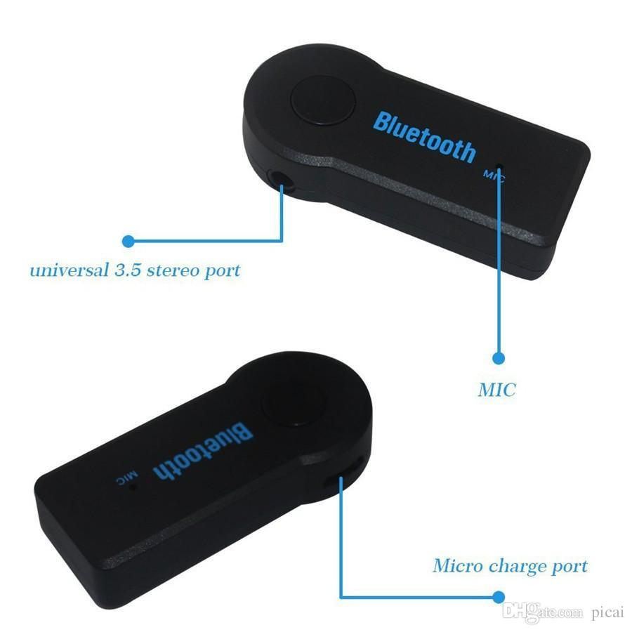 New handsfree Car Bluetooth Music Receiver Universal 3.5mm Jack A2DP plastic Bluetooth Car Kit Receiver For Audi MP3