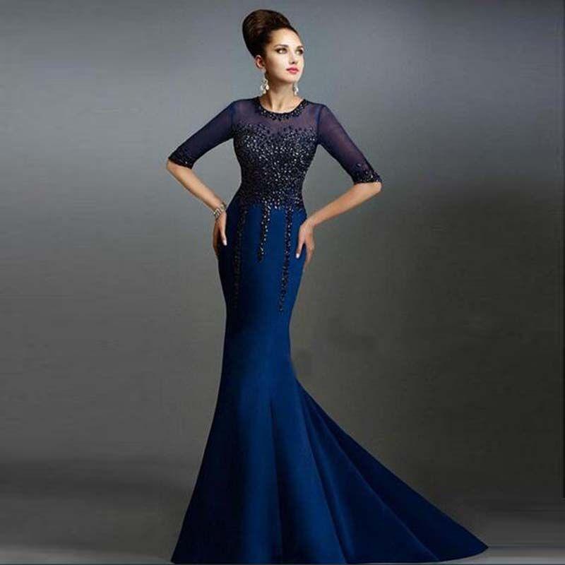 Modern Design Half Sleeve Mermaid Prom Dress Jewel Neck Sweep Train ...
