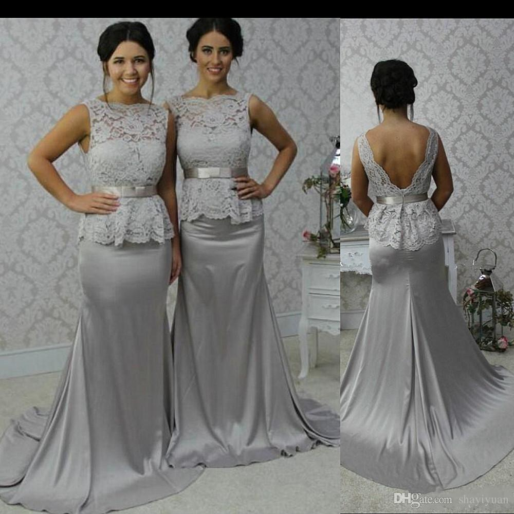 2017 glamorous scoop mermaid silver stretch satin court train open 2017 glamorous scoop mermaid silver stretch satin court train open back bridesmaid dress wedding party dresses short bridal dresses short bridal gowns from ombrellifo Image collections