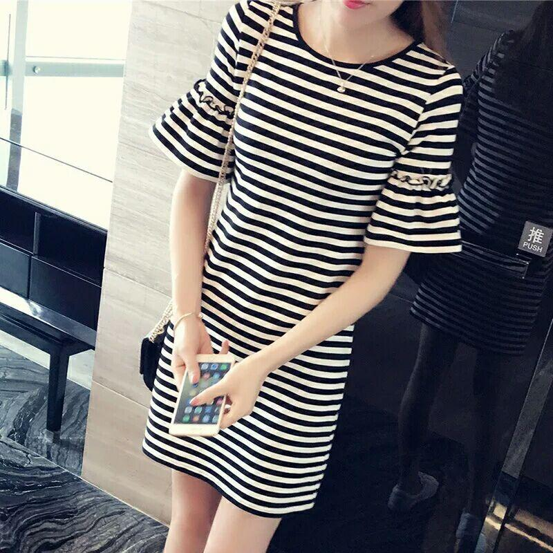 6d1265e6315 Wholesale Summer New Dress Long Section T-shirt Female Stripes Loose ...