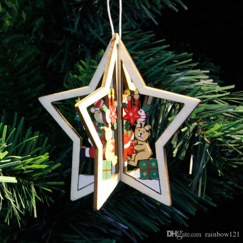 christmas decorations gift five star wood three dimensional pendent santa claus for christmas trees beautiful 10510cm buying christmas decorations cheap