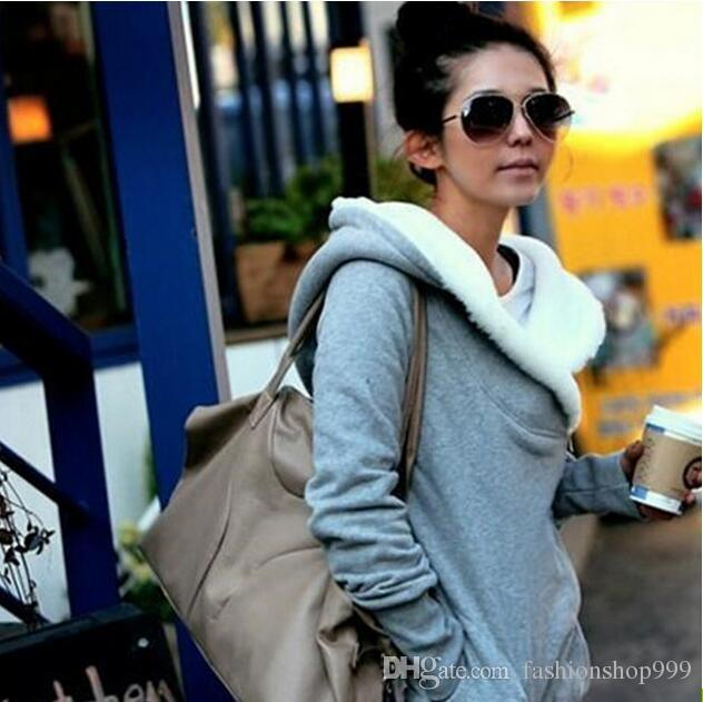 Senhora coreana Casaco Com Capuz Casaco Com Capuz Casaco Com Capuz Cinza Preto Moda Especial Tecido Grande Camisola Tamanho