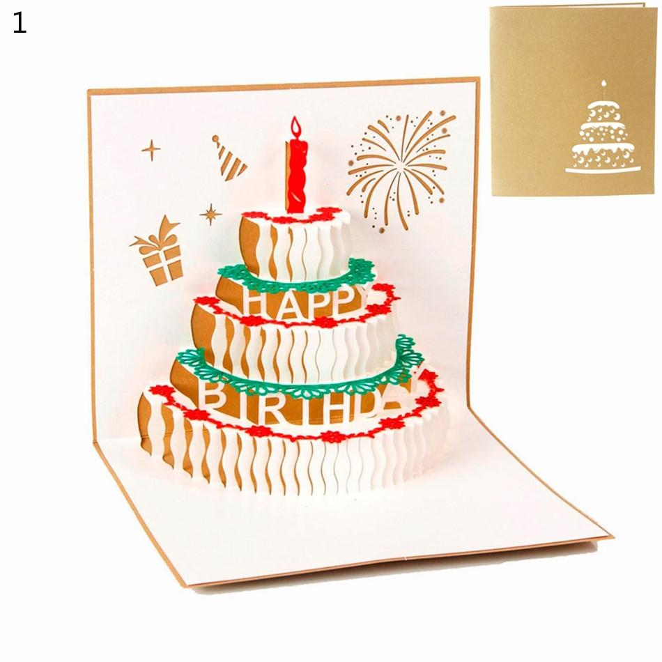 Paper Carving Hollow 3d Birthday Gift Candle Cake Greeting Card