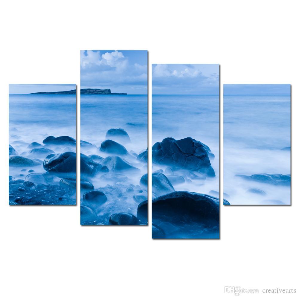 Satın Al Modern Deniz Manzarası Ve Taş Boyama Dropship Baskı Tuval