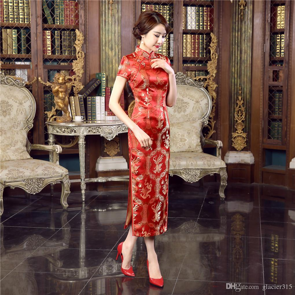 Shanghai Story high-grade long cheongsam Rayon Chinese cheongsam qipao dress chinese traditional clothing oriental dresses Cheap Qipao