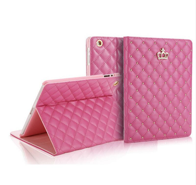 Luxury Designer Tablet PC Cases PU Leather Shockproof Tablet Case with Rhinestone Crown for IPAD 2/3/4 MINI4