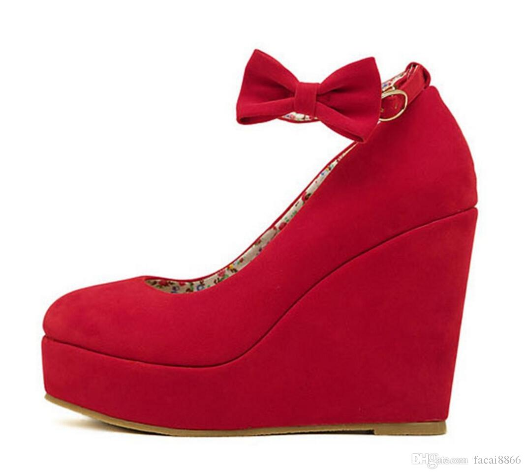 suede Red wedges black wedges women's ankle strap high wedges heel shoes