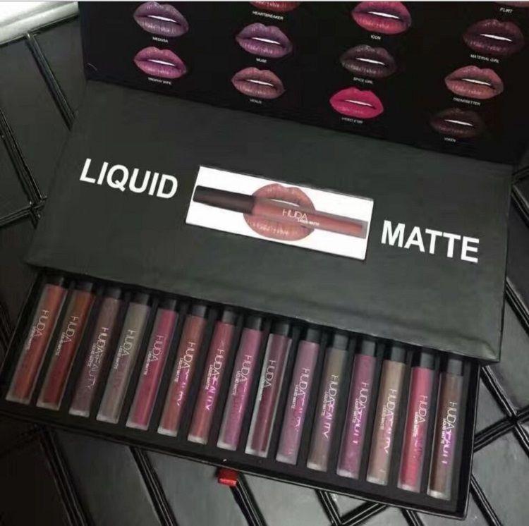 Hot 16 Farben / set Matt Lipgloss Schönheit Flüssigkeit lippenstift bilden Wasserdichte Langlebige Lipgloss Trophy Frau Icon Vixen 1 satz