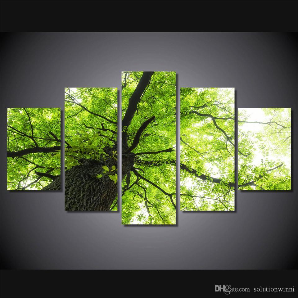 Satın Al 5 Panel Hd Baskılı Ağaç Dalı Yeşil Yapraklar Boyama Tuval
