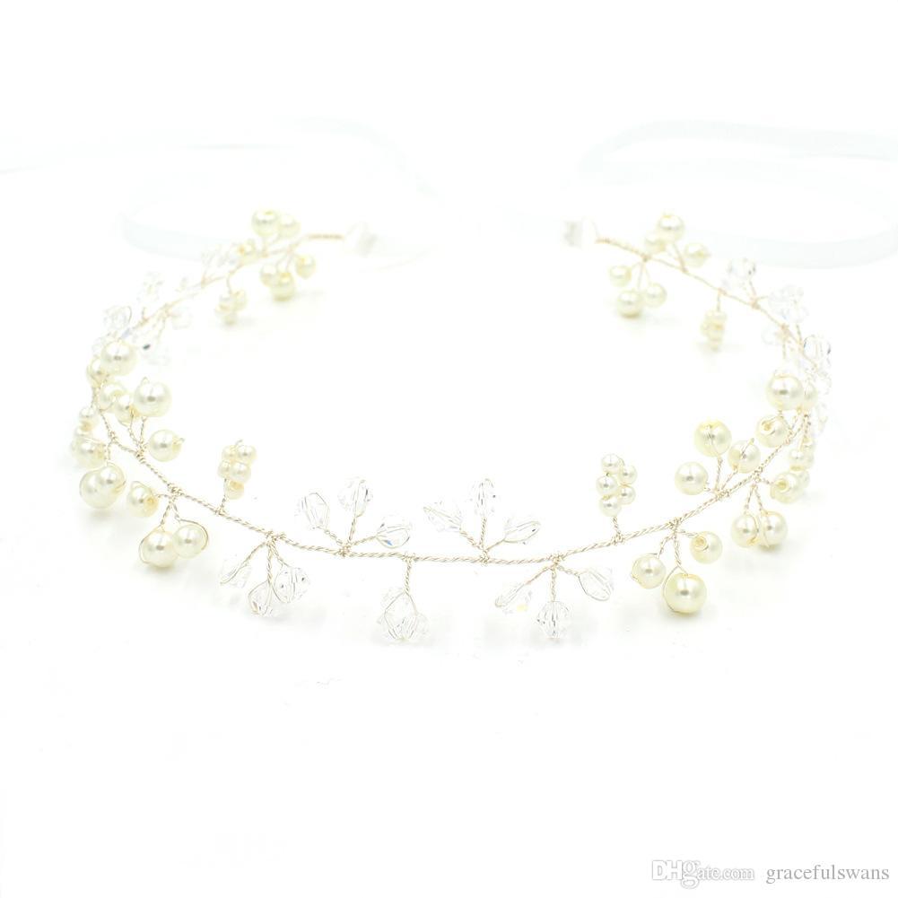 Crystal Pearls Charming Headpieces für Mädchen Gold und Splitter Farben auf Verkauf Braut Haarschmuck Hochzeit Zubehör