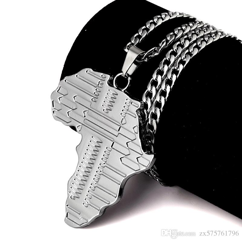 Sale Fashion Men Necklace Hip Hop Jewelry Punk Rock Rap Men Long 80M Chain Map of Africa Pendant Design