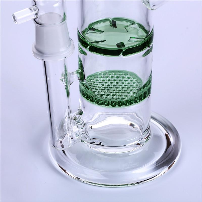 "Glass Bong Oil Rigs Glass Water Pipes Hand Blown Honeycomb Turbine Percolator Water Pipes 7""inches High 18.8mm Joint"