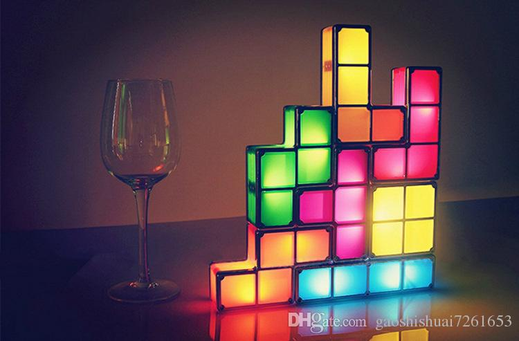 See larger image - 2018 Tetris Stackable Led Desk Lamp Seven Piece Interlocking Light
