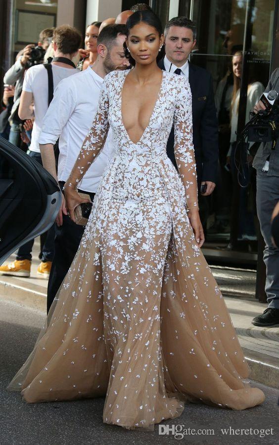 Zuhair Murad Champagne Tulle Pageant robes de célébrité avec un long cou Seeves Illusion V Applique dentelle 2019 Robes de bal du soir d'hiver formelle