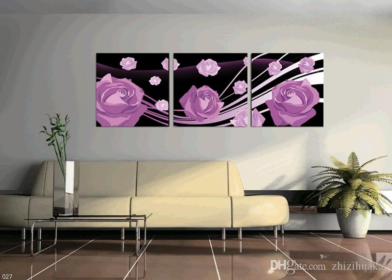 no frame Hot selling wall art picture on Canvas Prints tulips Calla Lily Lotus leaf fish Abstract cartoon flowe