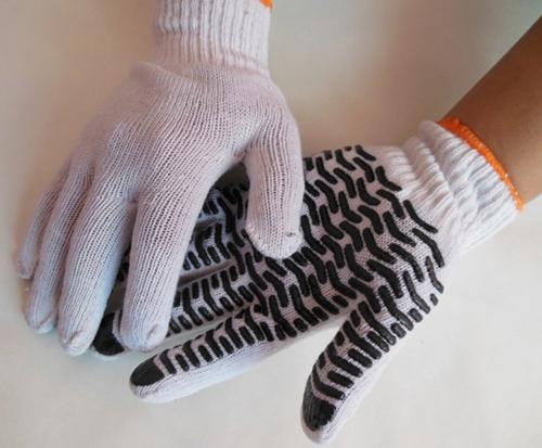 10 Gauge Bleached Cotton Stripe PVC Coating Glove Wave PVC Anti-Skidding Wear Resistant Working Protective Glove