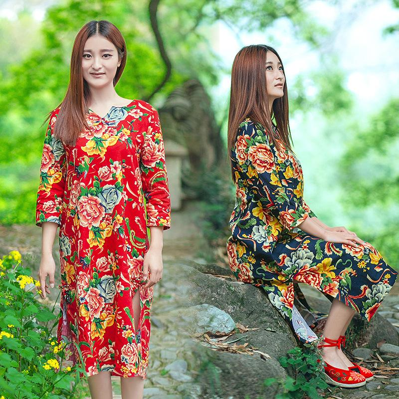 Dress Summer New Pattern Printing Cotton Suit-dress Silk. Original Nation Wind Clothes Accessories Dresses Woman For Womens Clothing Ladies