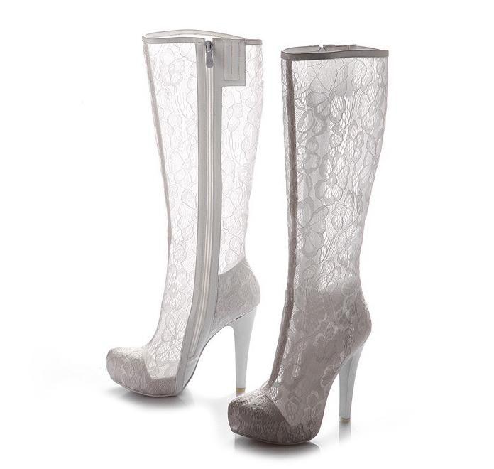 7653ca4303e Elegantes zapatos de boda de encaje blanco Botas de novia en stock Botas de  encaje negro para plataforma de novias Tacones altos Accesorios de novia ...
