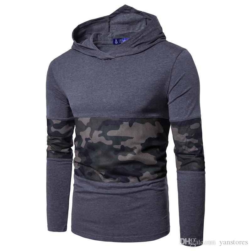 Hot Sell Four Color Large Size Men Hoodies Long Sleeve Cotton Blend T-shirt New Camouflage Stitching Casual Pullover T-shirt Y170916