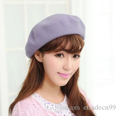 1aea25593c4df 2019 Classic Pure Wool Berets Caps For Women Autumn Winter Men Solid Colors Woolen  Felt Hats Wholesale Ladies Cap From Etradecn99