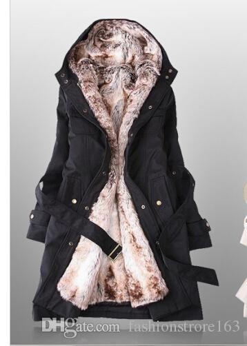 Удивительные искусственного меха подкладка женщин бежевый шубы зима теплая длинное пальто груза падения