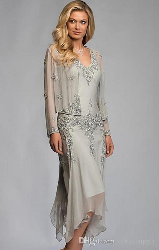 Långärmad mor till bruden klänningar med wrap beading v nacke chiffong mor formell kväll klänning te längd