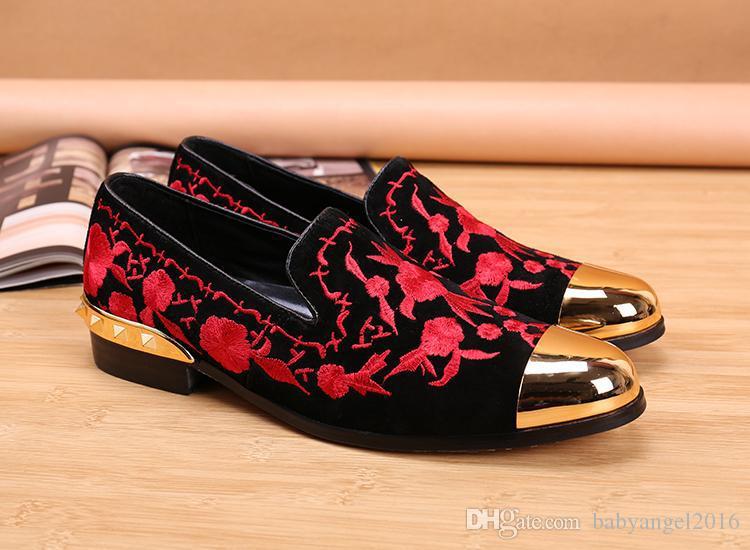 Luxury New Floral ricamato uomini scarpe da sera slip on metallizzato Mens mocassini in vera pelle scarpe da festa in mocassini Flats EU taglia 46